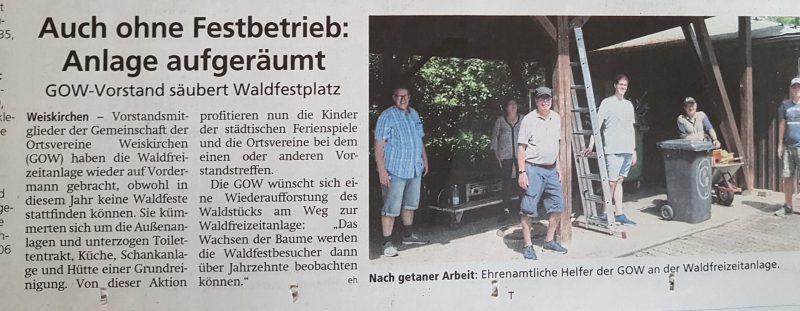 Veröffentlichung Offenbach Post 15.7.2020 - Ehrenamtliche Helfer GOW Weiskirchen
